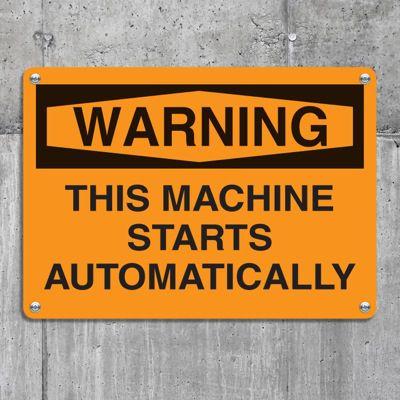 Equipment Hazard Mini Safety Signs - Warning This Machine Starts Automatically