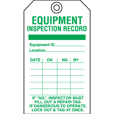 Service Inspection Tags - Equipment Inspection Record