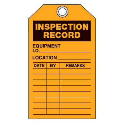 Equipment Inspection Ultra-Tags - Inspection Record (Orange)