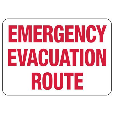 Emergency Evacuation Route Shelter Signs