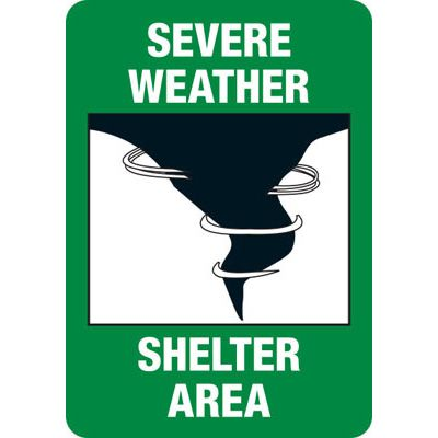 Severe Weather Shelter Area Evacuation Sign