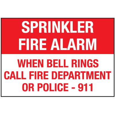 Sprinkler Fire Alarm When Bell Rings Signs
