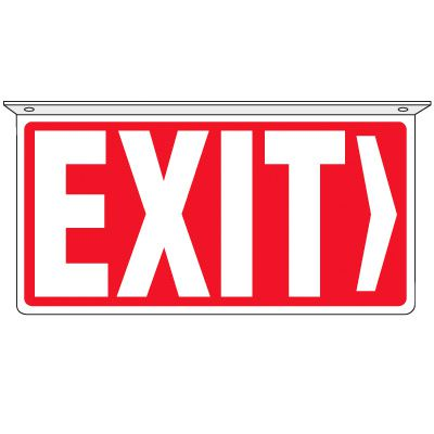 Exit (Red/White) - 2-Way Ceiling Mounted Signs