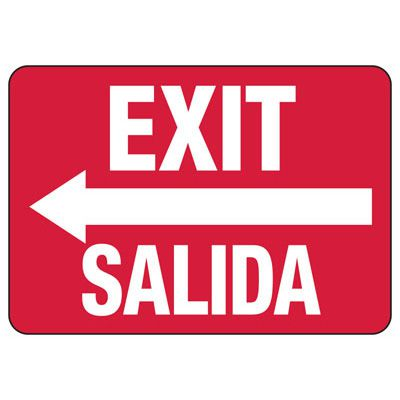Exit/Salida Sign, Left Arrow