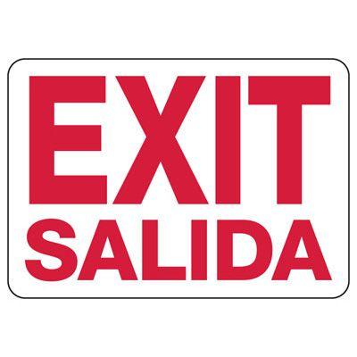 Self-Adhesive Vinyl Exit Signs - Exit/Salida