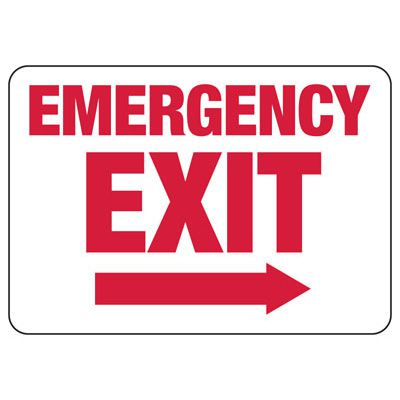 Emergency Exit (Right Arrow) - Industrial Exit Signs