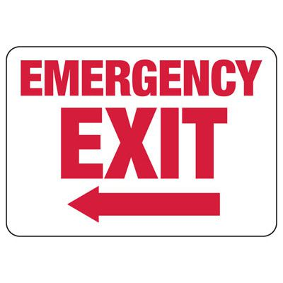 Emergency Exit (Left Arrow) - Industrial Exit Signs