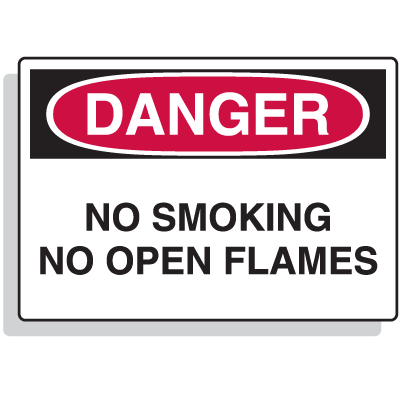 Extra Large OSHA Signs - Danger - No Smoking No Open Flames