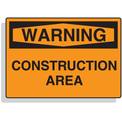 Extra Large OSHA Signs - Warning - Construction Area