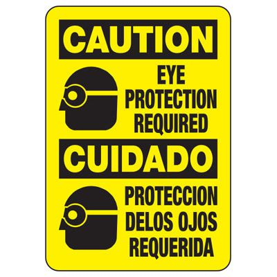 Bilingual Eye Protection Required - PPE Sign