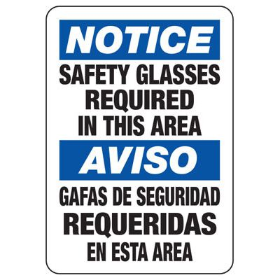 Bilingual Notice Safety Glasses Required In This area - PPE Sign