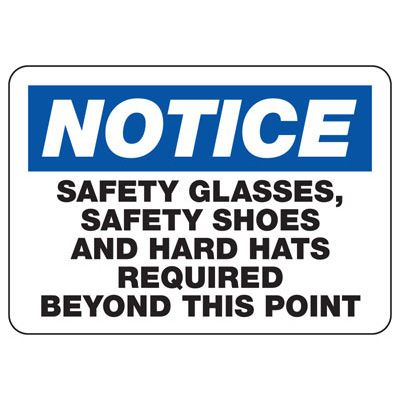 Safety Glasses, Safety Shoes and Hard Hats Required - PPE Sign