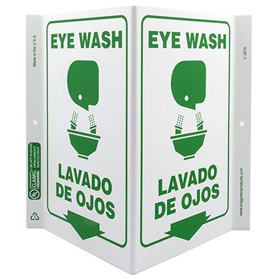 Eye Wash Bilingual V-Style Sign