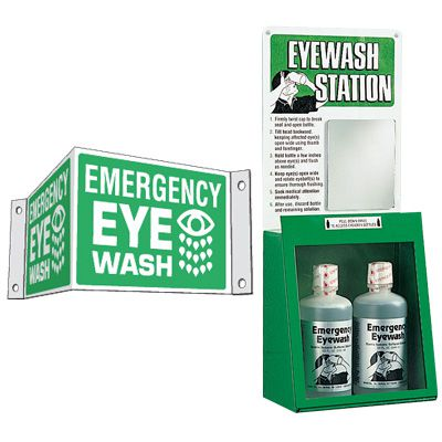 Eyewash and 3-Way Sign Kit - Emergency Eye Wash
