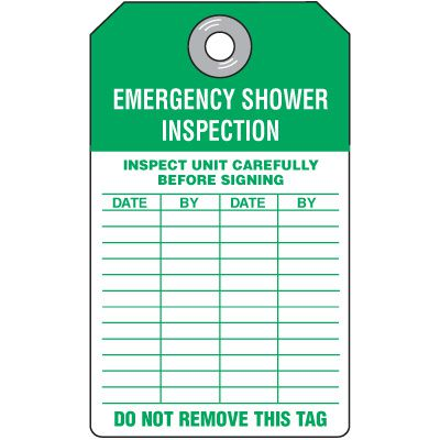 Safety Shower Inspection Tag
