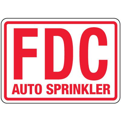 Fire Department Connection Sign: FDC Auto Sprinkler