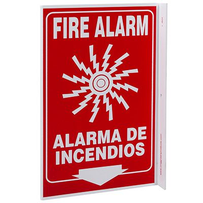 Fire Alarm Bilingual L-Style Sign