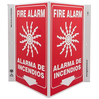 Fire Alarm Bilingual V-Style Sign