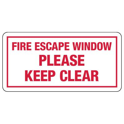 Fire Escape Window – Please Keep Clear Sign