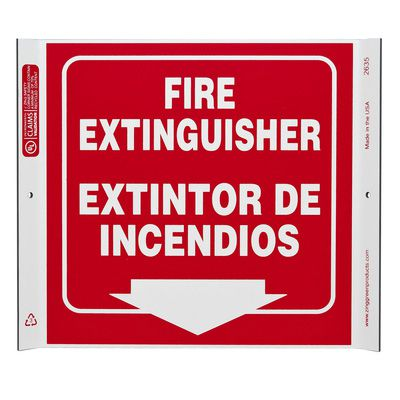 Fire Extinguisher Bilingual Corner Sign