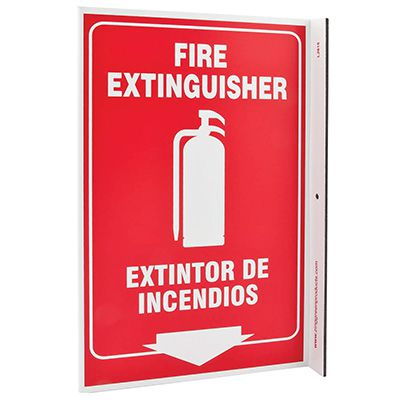 Fire Extinguisher Bilingual L-Style Sign