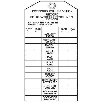 Bilingual Fire Extinguisher Tags - 3-1/2W x 6-1/2H