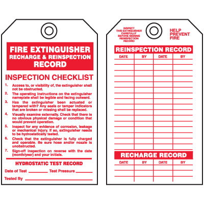 Fire Extinguisher Tags - Recharge and Reinspection Record