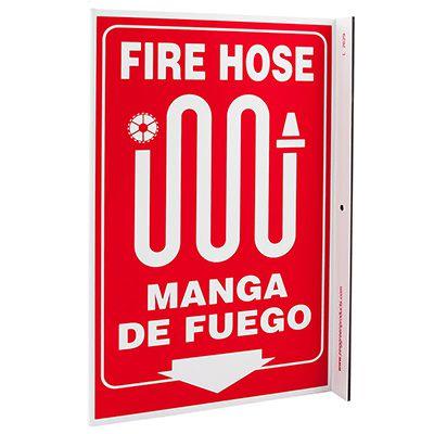 Fire Hose Bilingual L-Style Sign