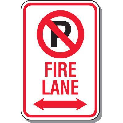 Fire Lane Signs - Fire Lane (Double Arrow)