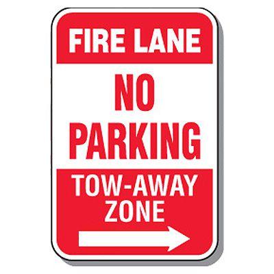 Fire Lane Signs - Fire Lane No Parking (Right Arrow)