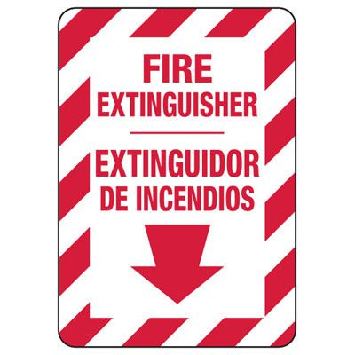 Bilingual Fire Extinguisher - Fire Safety Sign