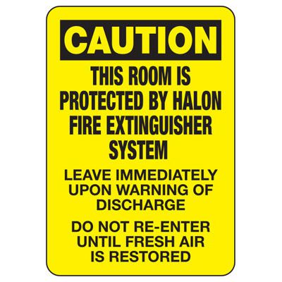 This Room Protected By Halon Extinguisher System - Fire Safety Sign