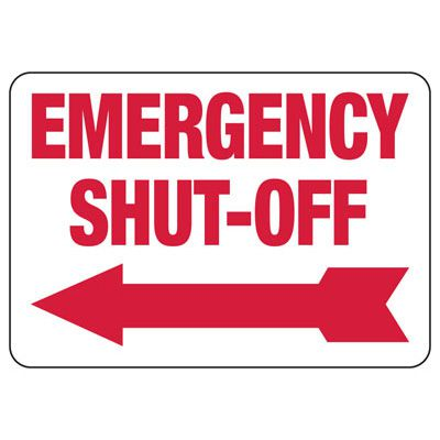 Emergency Shut-Off (Left Arrow)  - Sprinkler Control Signs
