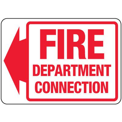 Fire Department Connection Sign: Fire Department Connection (With Left Arrow)