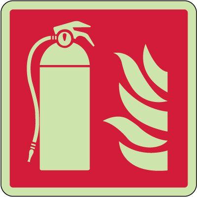Fire Extinguisher Symbol Photoluminescent Sign