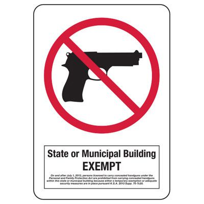 Kansas Concealed Carry Signs - State Or Municipal Building Exempt