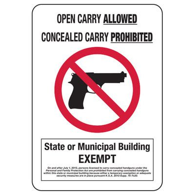 Open Carry Allowed State Or Municipal Exempt - Policy Sign