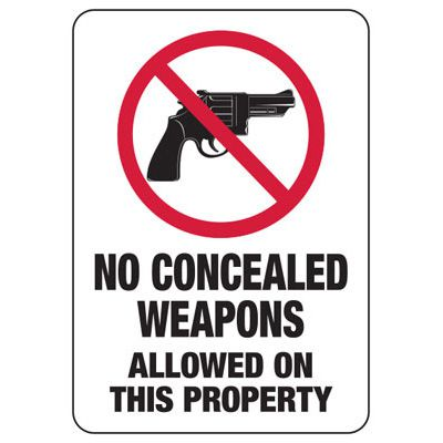 No Concealed Weapons Allowed On This Property - Firearm Safety Signs
