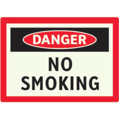 Danger No Smoking - Photoluminescent Sign