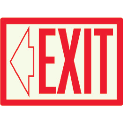 Exit with Left Arrow - Photoluminescent Sign