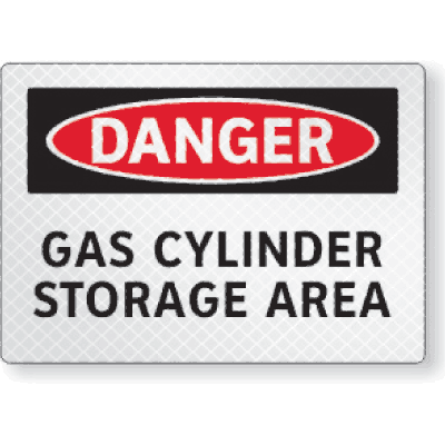 FireFly Reflective Safety Signs - Danger - Gas Cylinder Storage Area