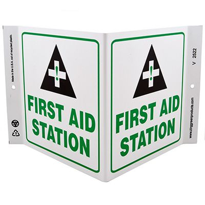 First Aid Station V-Style Sign