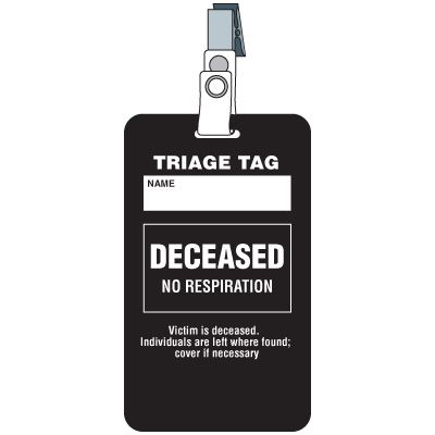 Deceased Triage Tag
