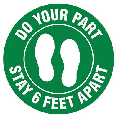 Floor Safety Signs - Stay 6 Feet Apart - Green