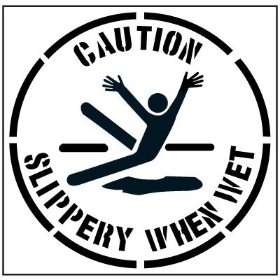 Pavement Tool Floor Stencils - Caution Slippery When Wet S-5509 D