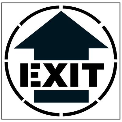 Large Floor Stencils - EXIT w/ Arrow