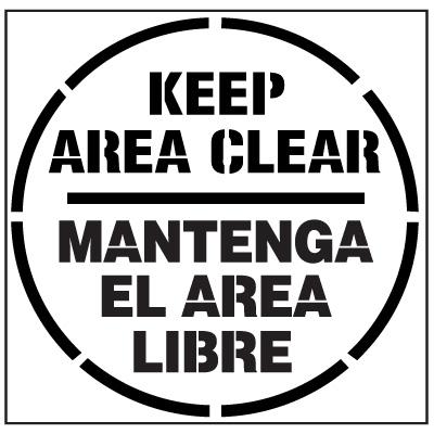 Pavement Tool Floor Stencils - Keep Area Clear Mantenga El Area Libre S-5527D