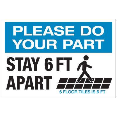 Stay 6 FT Apart Floor Tiles Landscape Label