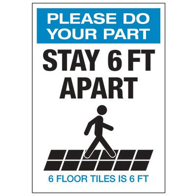 Stay 6 FT Apart Floor Tiles Portrait Decal