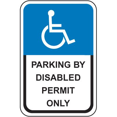 Florida State Handicap Signs - Parking By Disabled Permit